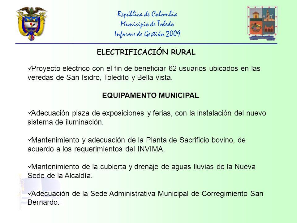ELECTRIFICACIÓN RURAL EQUIPAMENTO MUNICIPAL