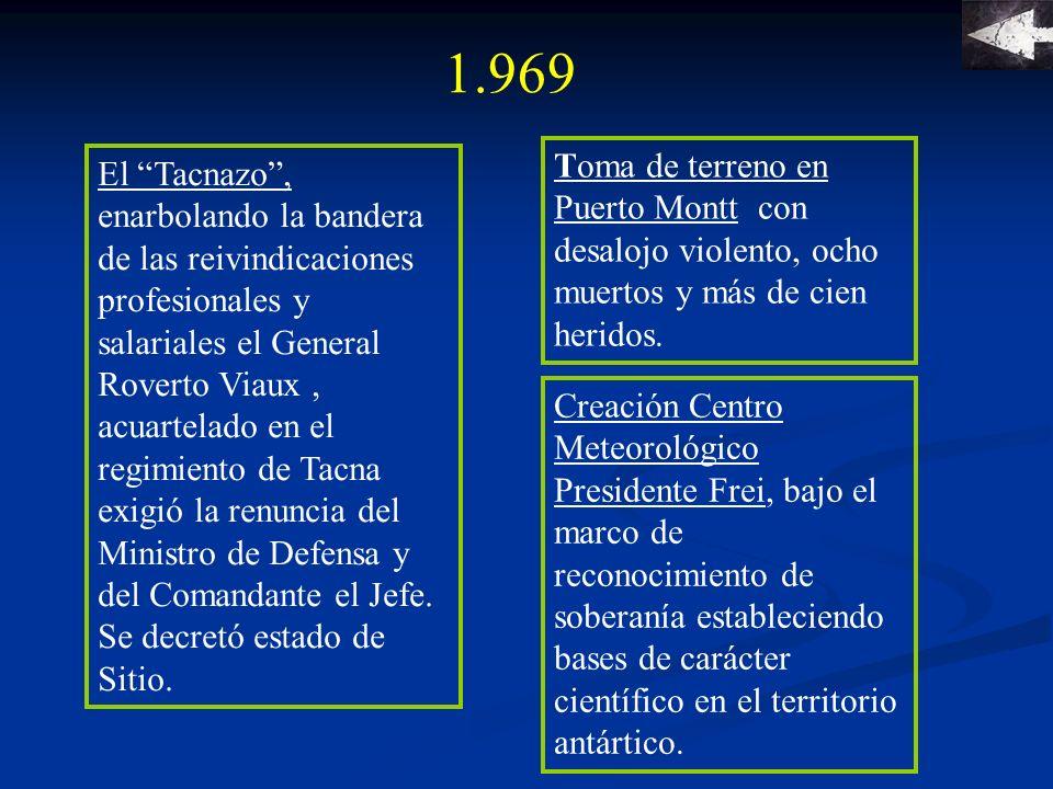 1.969 Toma de terreno en Puerto Montt con desalojo violento, ocho muertos y más de cien heridos.