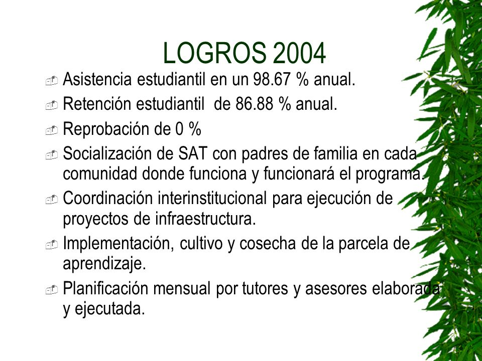 LOGROS 2004 Asistencia estudiantil en un 98.67 % anual.