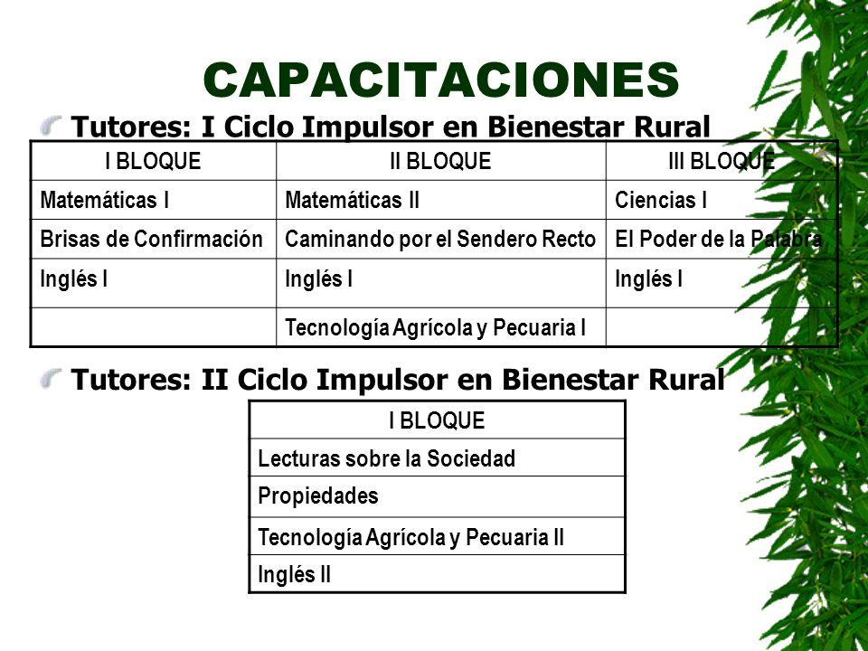 CAPACITACIONES Tutores: I Ciclo Impulsor en Bienestar Rural