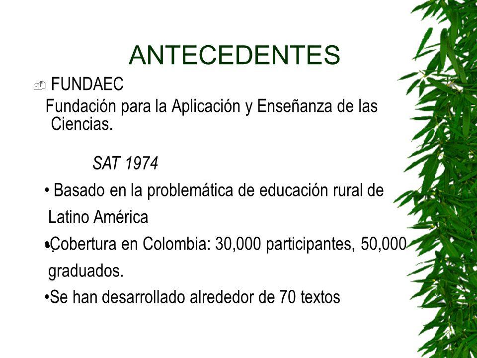 ANTECEDENTES FUNDAEC. Fundación para la Aplicación y Enseñanza de las Ciencias. SAT 1974. Basado en la problemática de educación rural de.