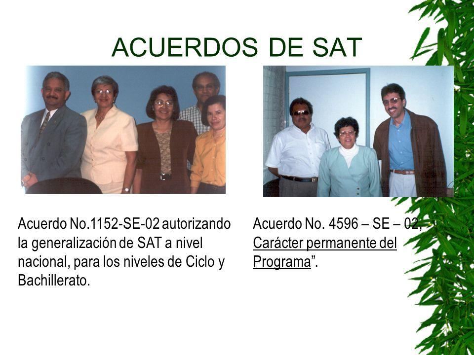ACUERDOS DE SAT Acuerdo No.1152-SE-02 autorizando la generalización de SAT a nivel nacional, para los niveles de Ciclo y Bachillerato.
