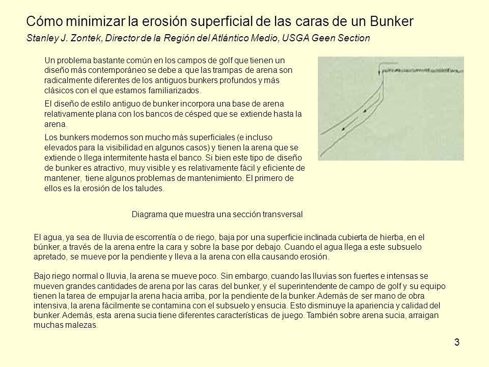 Cómo minimizar la erosión superficial de las caras de un Bunker Stanley J. Zontek, Director de la Región del Atlántico Medio, USGA Geen Section