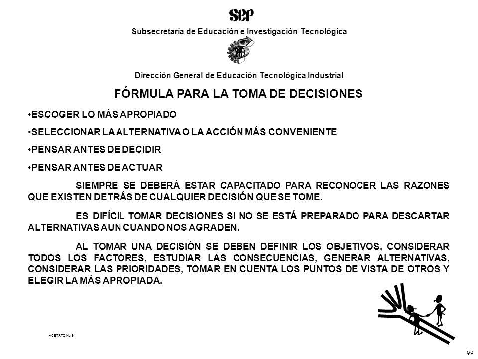 FÓRMULA PARA LA TOMA DE DECISIONES