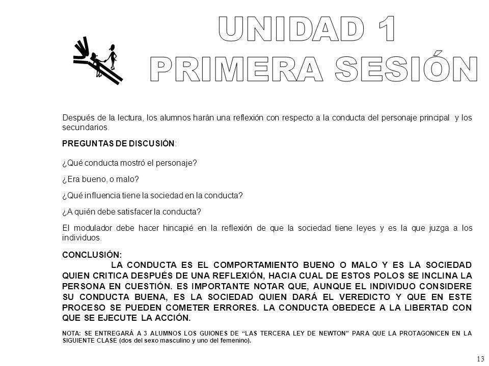 UNIDAD 1 PRIMERA SESIÓN CONCLUSIÓN: