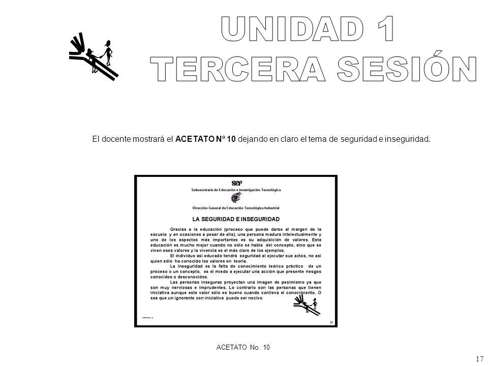 UNIDAD 1 TERCERA SESIÓN. El docente mostrará el ACETATO Nº 10 dejando en claro el tema de seguridad e inseguridad.
