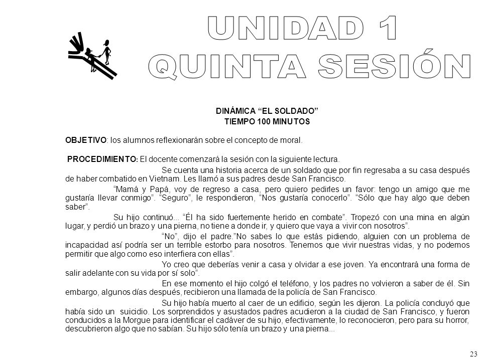 UNIDAD 1 QUINTA SESIÓN DINÁMICA EL SOLDADO TIEMPO 100 MINUTOS