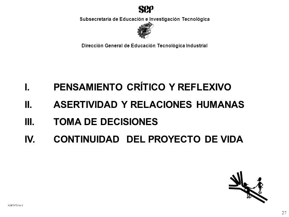 I. PENSAMIENTO CRÍTICO Y REFLEXIVO