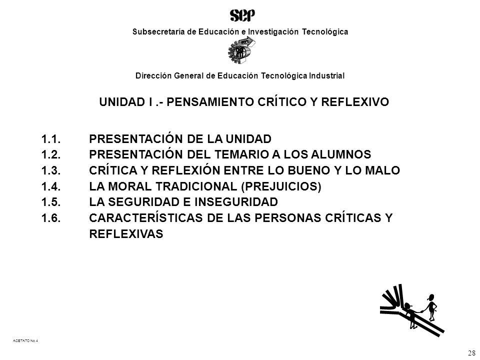 UNIDAD I .- PENSAMIENTO CRÍTICO Y REFLEXIVO