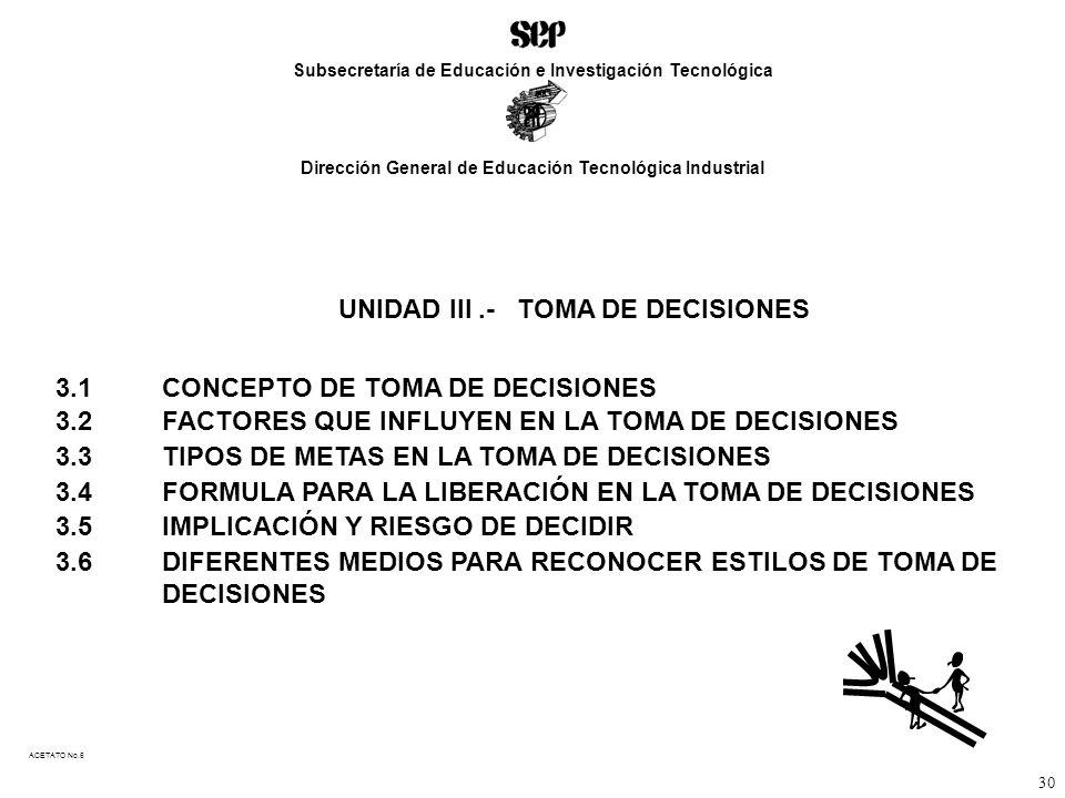 UNIDAD III .- TOMA DE DECISIONES