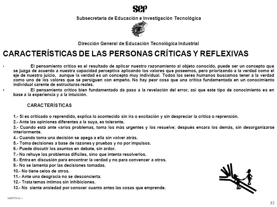CARACTERÍSTICAS DE LAS PERSONAS CRÍTICAS Y REFLEXIVAS