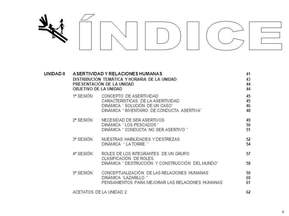 ÍNDICE UNIDAD II ASERTIVIDAD Y RELACIONES HUMANAS 41 DISTRIBUCIÓN TEMÁTICA Y HORARIA DE LA UNIDAD 43 PRESENTACIÓN DE LA UNIDAD 44.