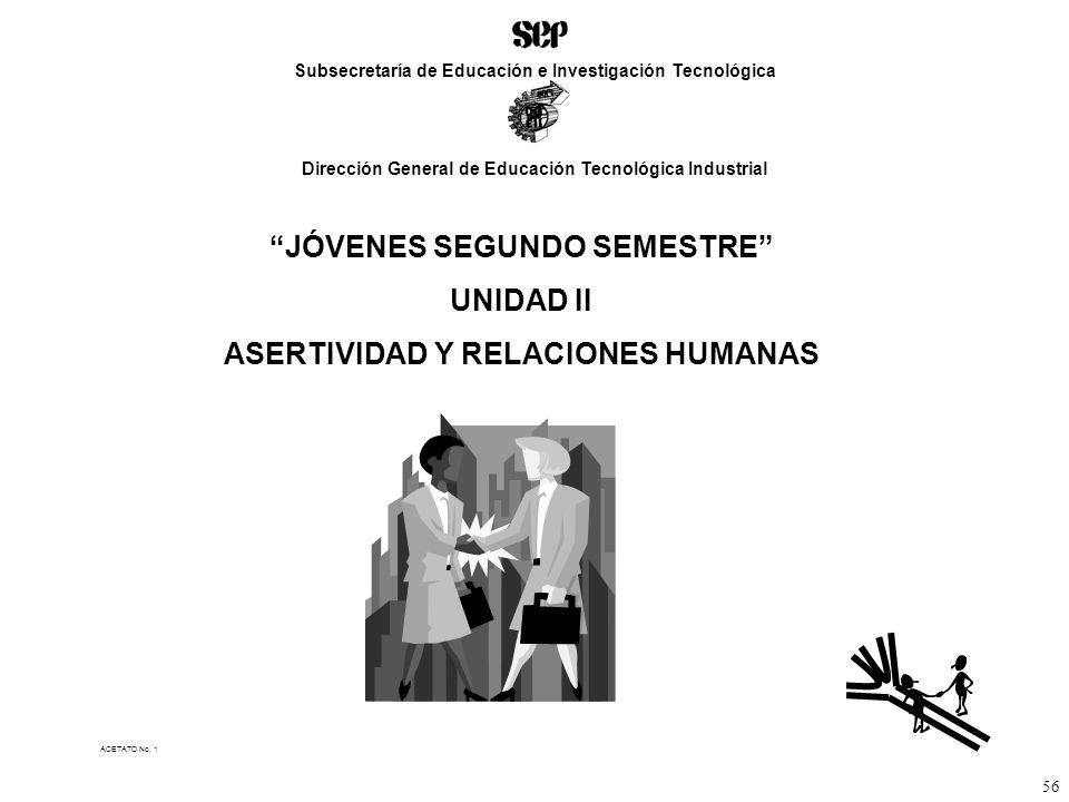 JÓVENES SEGUNDO SEMESTRE UNIDAD II ASERTIVIDAD Y RELACIONES HUMANAS