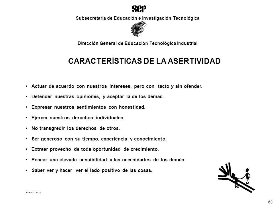 CARACTERÍSTICAS DE LA ASERTIVIDAD