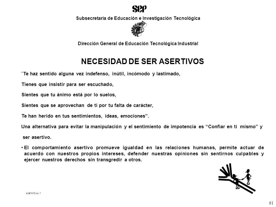 NECESIDAD DE SER ASERTIVOS