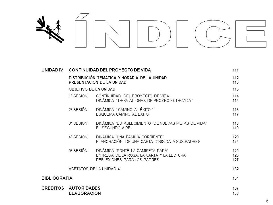 ÍNDICE UNIDAD IV CONTINUIDAD DEL PROYECTO DE VIDA 111