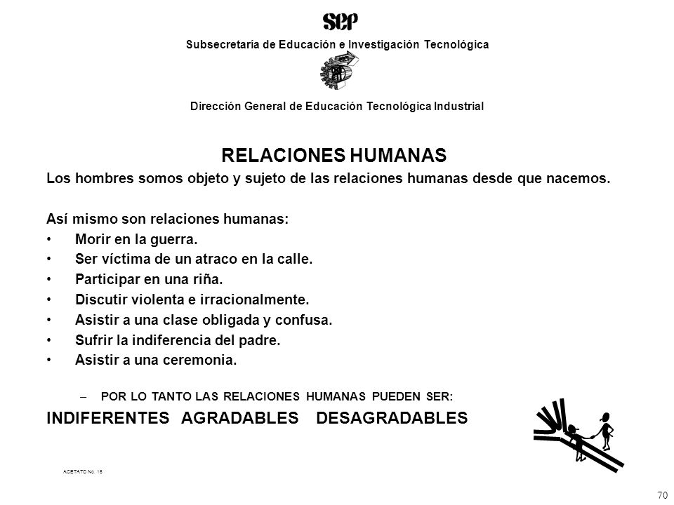 RELACIONES HUMANAS INDIFERENTES AGRADABLES DESAGRADABLES