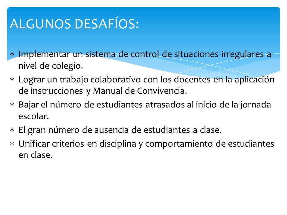 ALGUNOS DESAFÍOS: Implementar un sistema de control de situaciones irregulares a nivel de colegio.