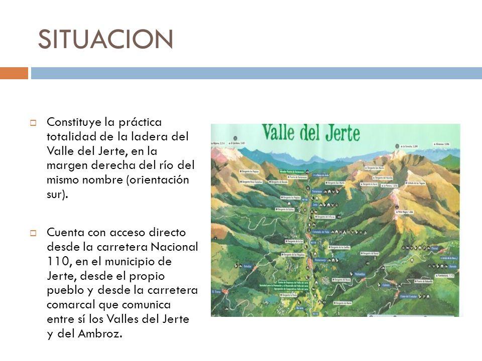 SITUACION Constituye la práctica totalidad de la ladera del Valle del Jerte, en la margen derecha del río del mismo nombre (orientación sur).