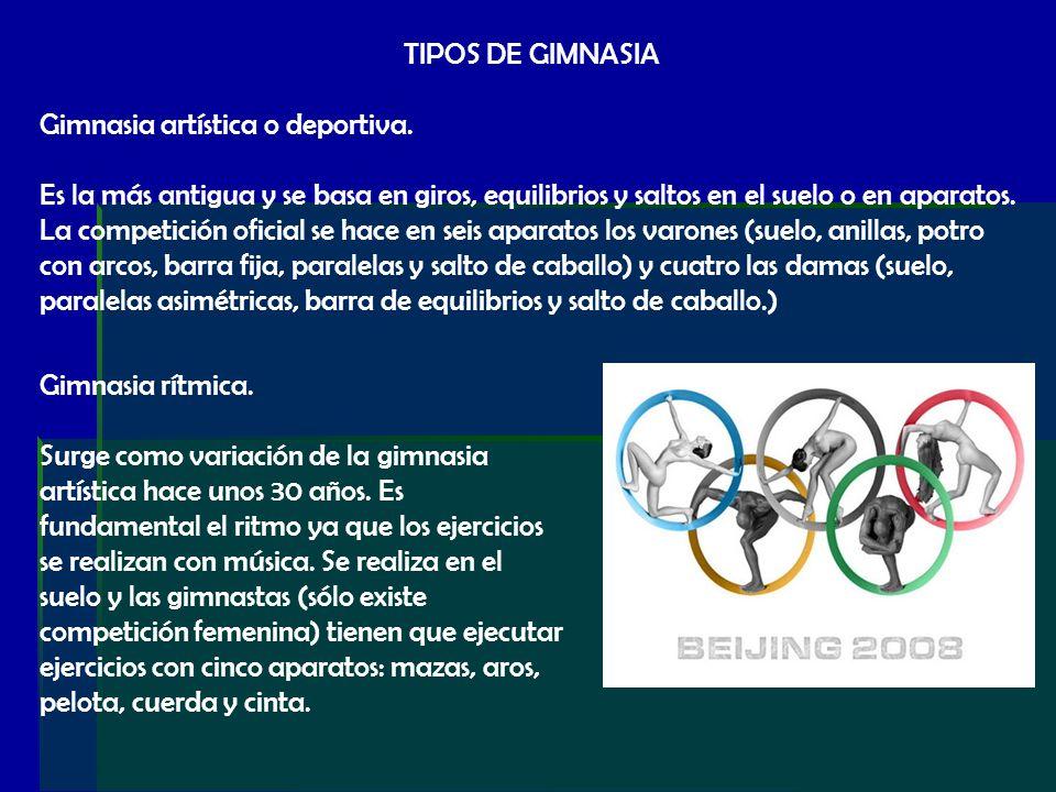 TIPOS DE GIMNASIA Gimnasia artística o deportiva.