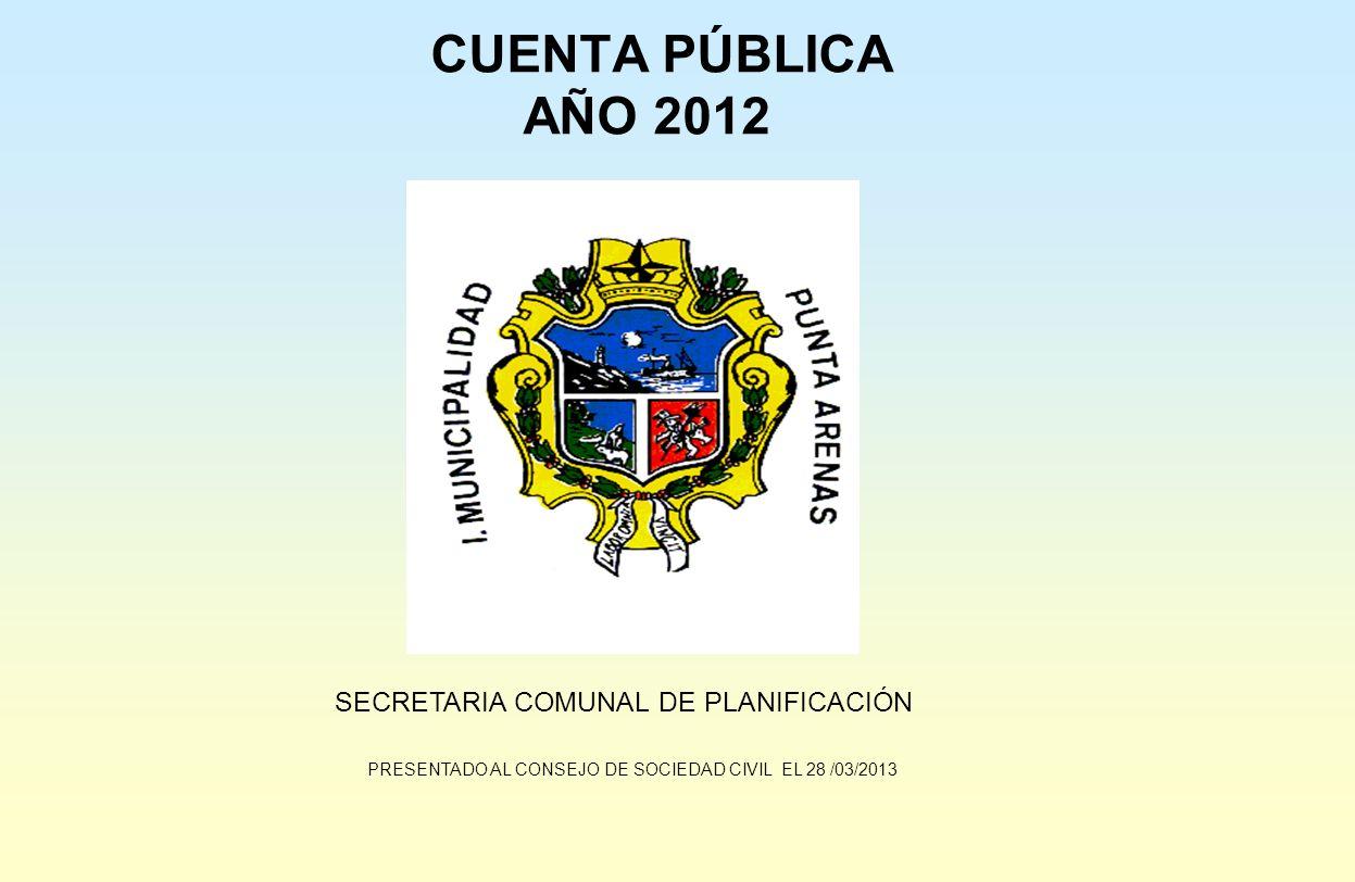 CUENTA PÚBLICA AÑO 2012 SECRETARIA COMUNAL DE PLANIFICACIÓN