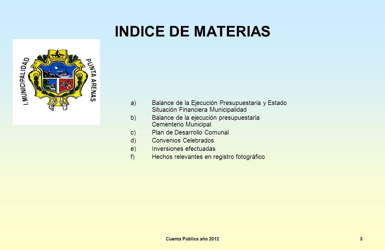 INDICE DE MATERIAS Balance de la Ejecución Presupuestaria y Estado Situación Financiera Municipalidad.
