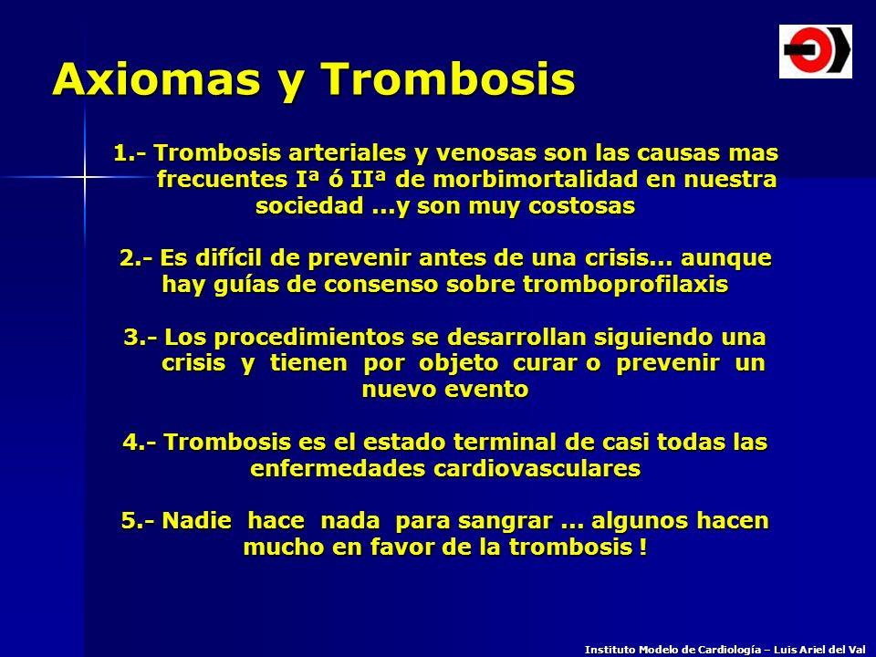 Axiomas y Trombosis 1.- Trombosis arteriales y venosas son las causas mas. frecuentes Iª ó IIª de morbimortalidad en nuestra.