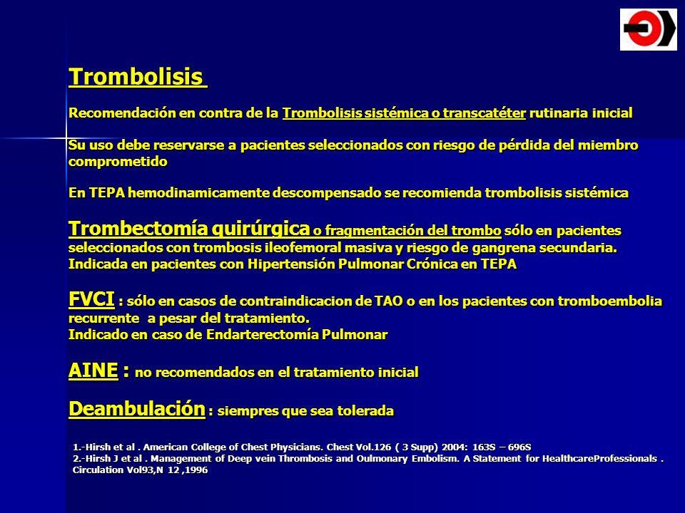 Trombolisis Recomendación en contra de la Trombolisis sistémica o transcatéter rutinaria inicial.