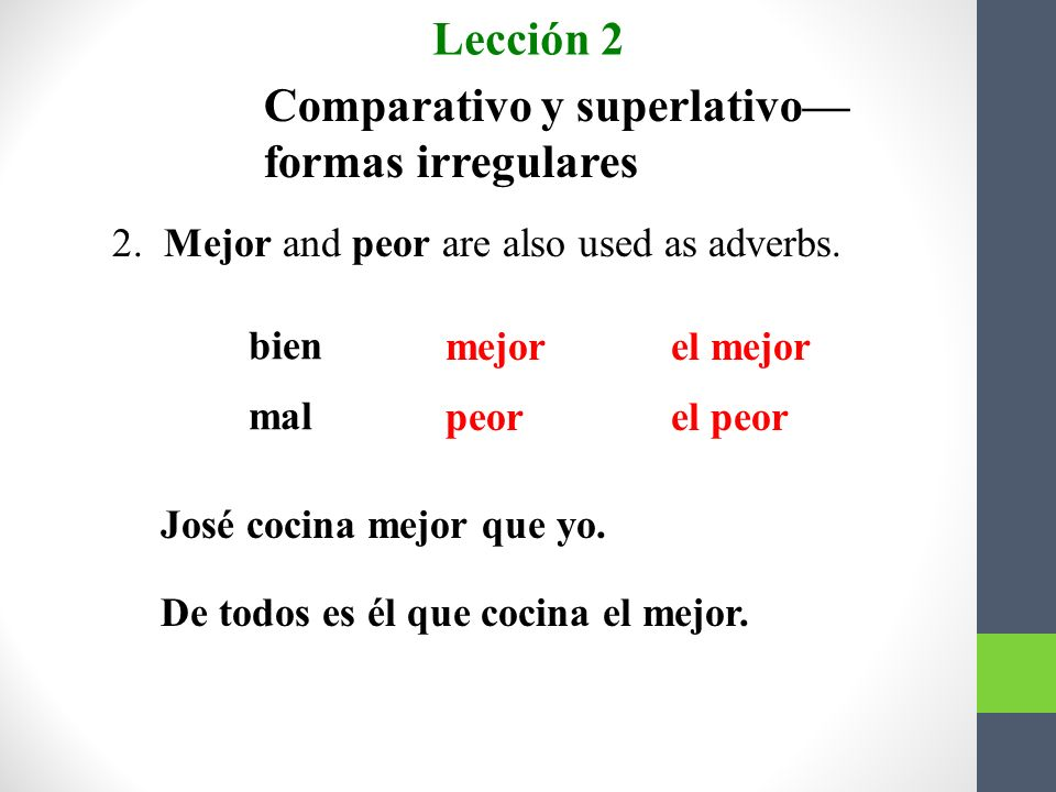Comparativo y superlativo— formas irregulares