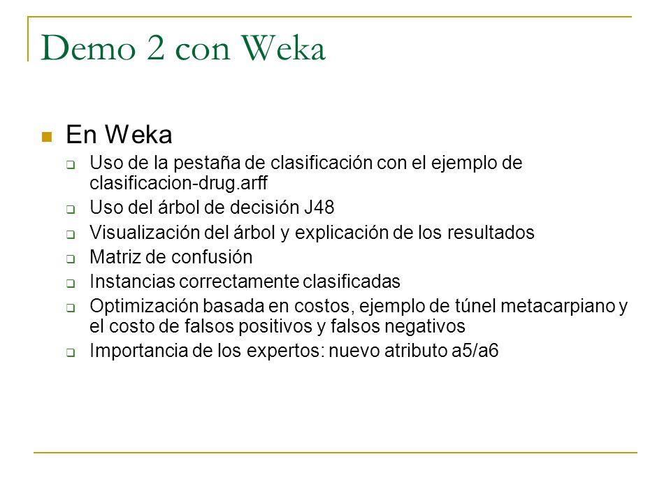 Demo 2 con Weka En Weka. Uso de la pestaña de clasificación con el ejemplo de clasificacion-drug.arff.