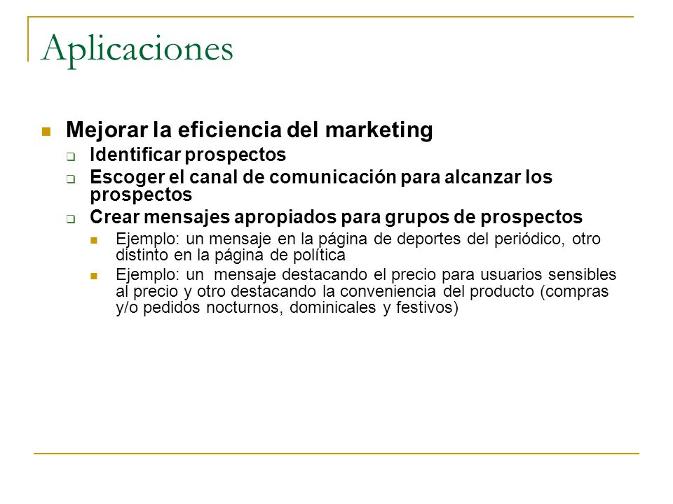 Aplicaciones Mejorar la eficiencia del marketing