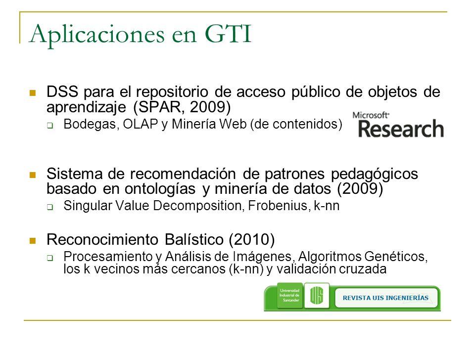 Aplicaciones en GTI DSS para el repositorio de acceso público de objetos de aprendizaje (SPAR, 2009)