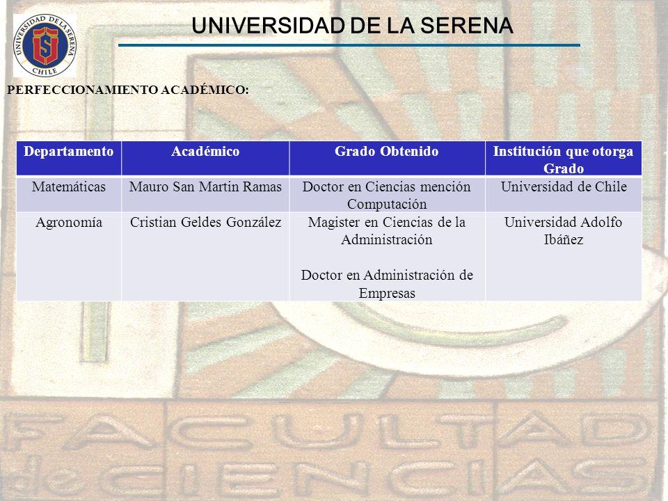 UNIVERSIDAD DE LA SERENA Institución que otorga Grado