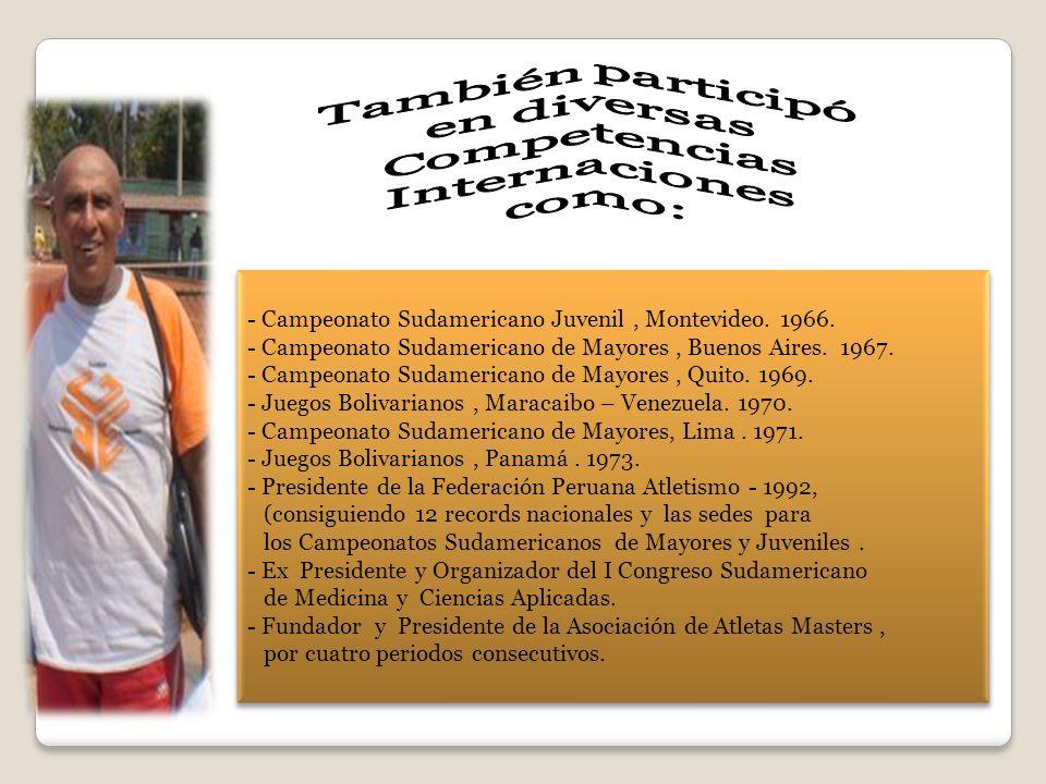 También participó en diversas Competencias Internaciones como: