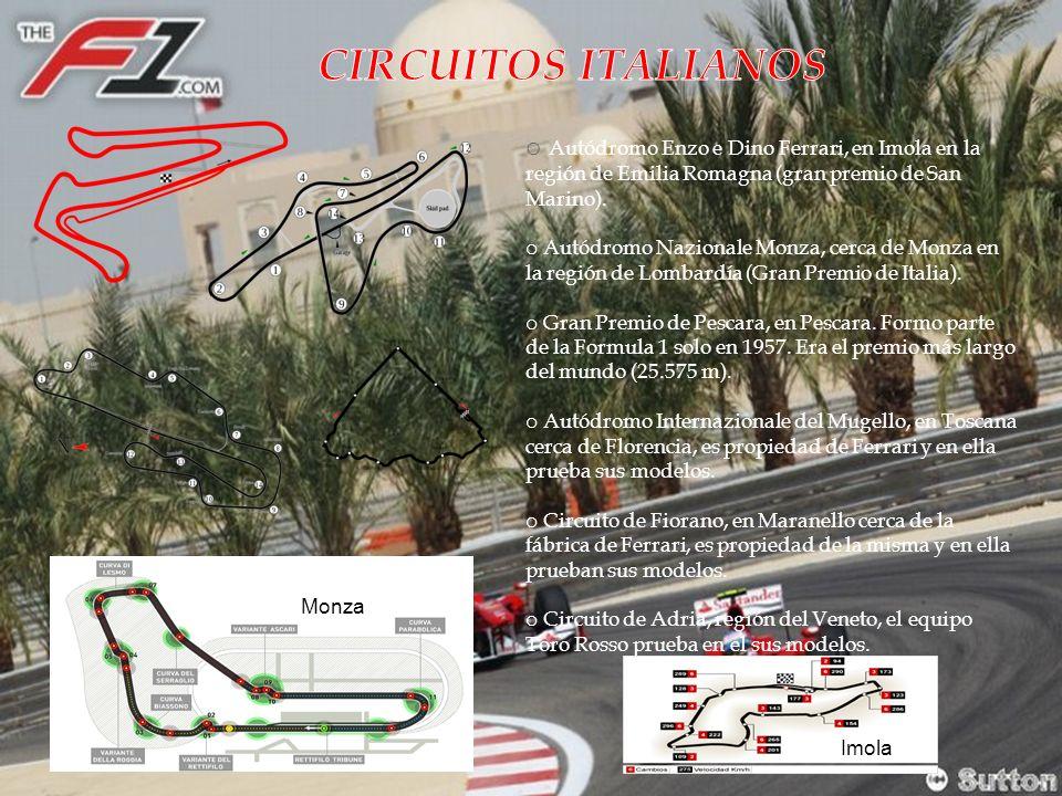 CIRCUITOS ITALIANOS Autódromo Enzo e Dino Ferrari, en Imola en la región de Emilia Romagna (gran premio de San Marino).