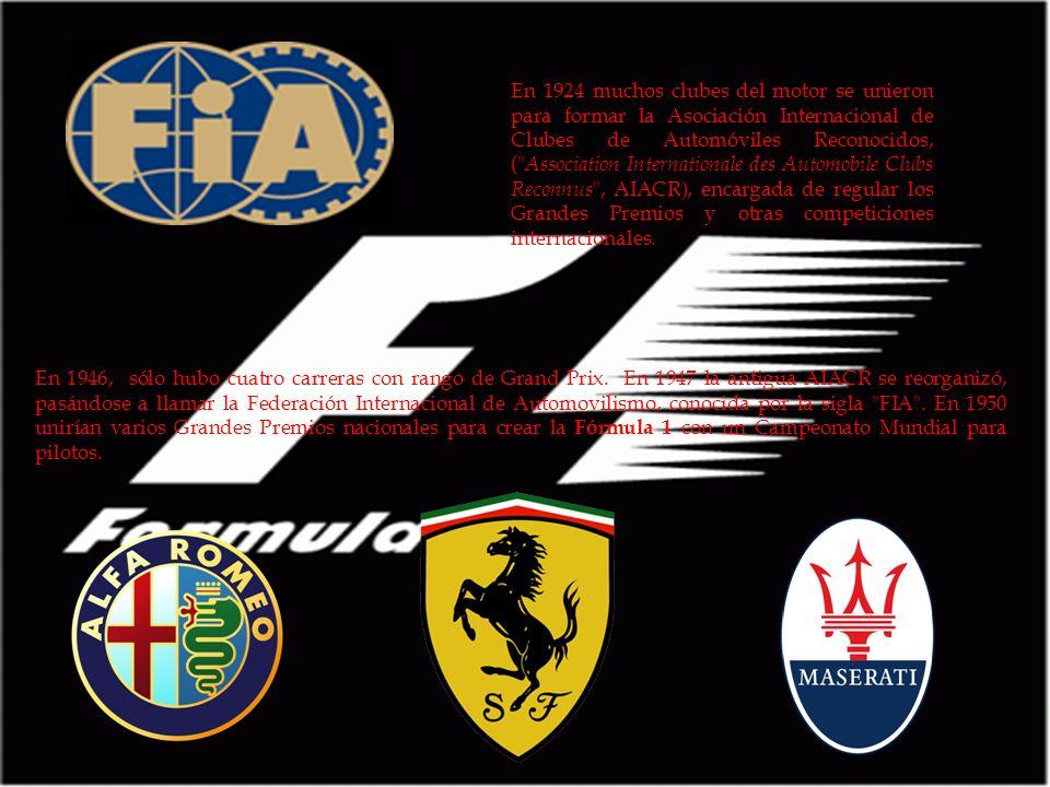 En 1924 muchos clubes del motor se unieron para formar la Asociación Internacional de Clubes de Automóviles Reconocidos, ( Association Internationale des Automobile Clubs Reconnus , AIACR), encargada de regular los Grandes Premios y otras competiciones internacionales.