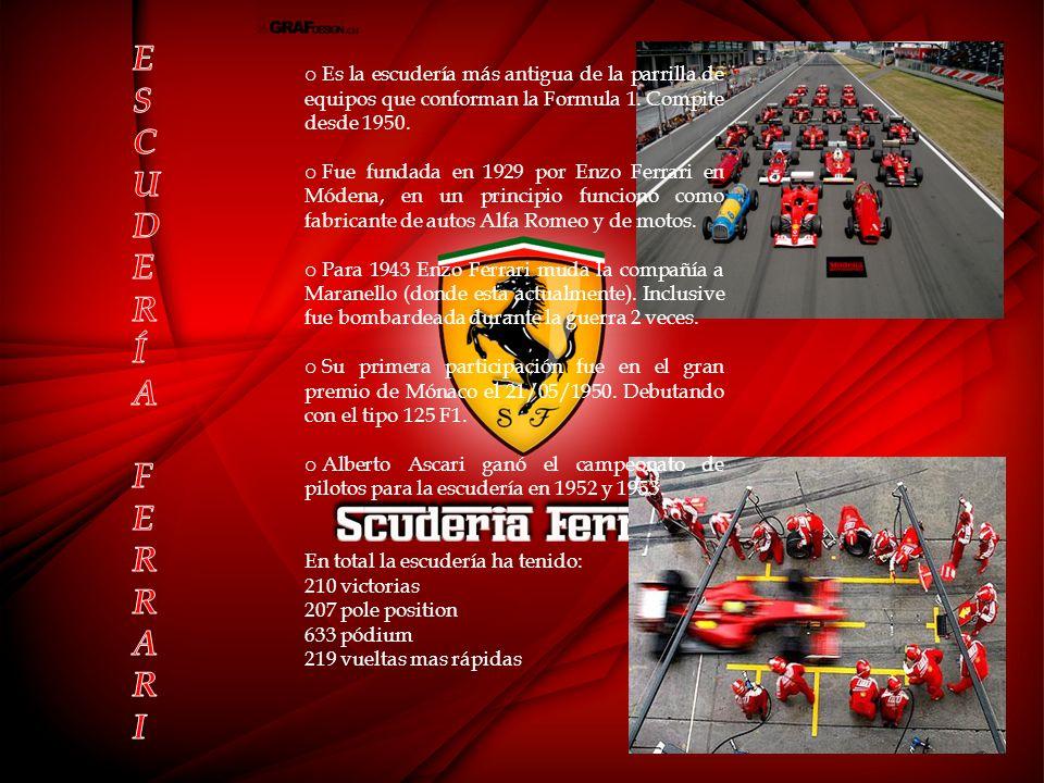 ESCUDERÍA FERRARI. Es la escudería más antigua de la parrilla de equipos que conforman la Formula 1. Compite desde 1950.