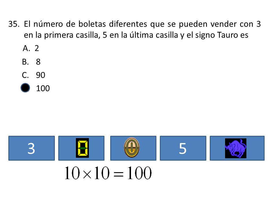 El número de boletas diferentes que se pueden vender con 3 en la primera casilla, 5 en la última casilla y el signo Tauro es