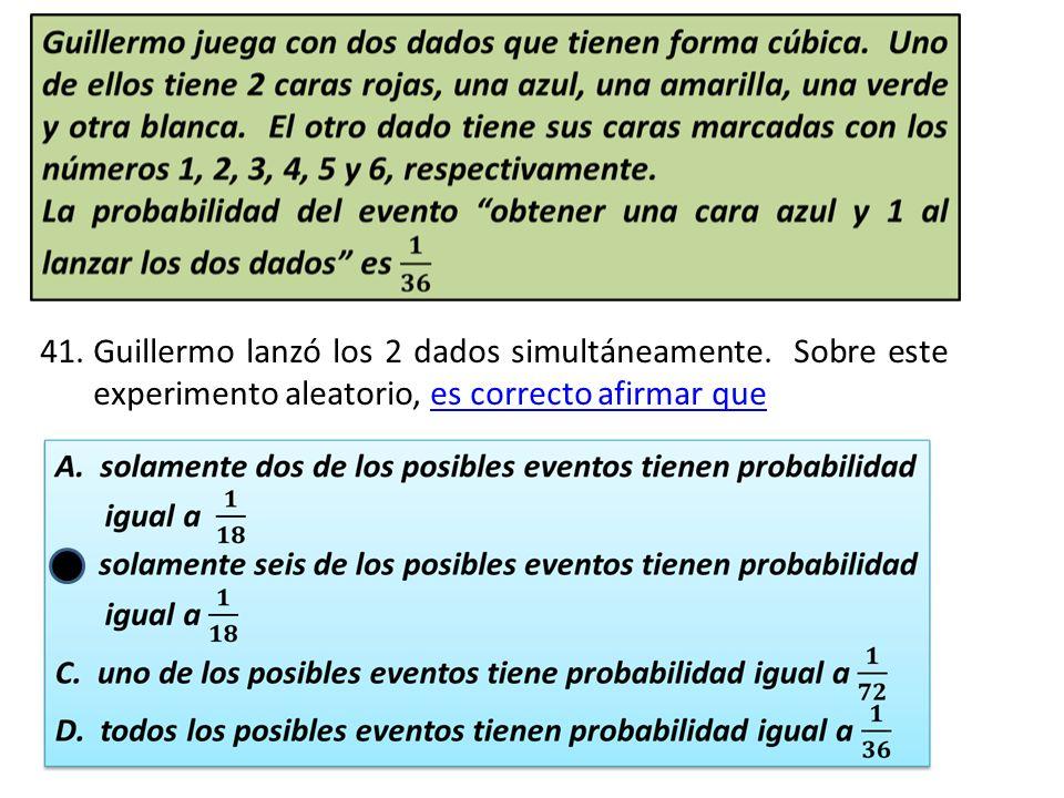 Guillermo lanzó los 2 dados simultáneamente. Sobre este experimento aleatorio, es correcto afirmar que.