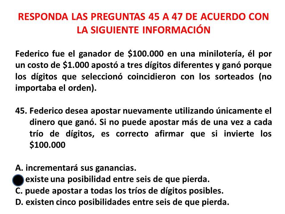 RESPONDA LAS PREGUNTAS 45 A 47 DE ACUERDO CON LA SIGUIENTE INFORMACIÓN