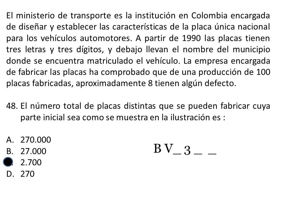El ministerio de transporte es la institución en Colombia encargada de diseñar y establecer las características de la placa única nacional para los vehículos automotores. A partir de 1990 las placas tienen tres letras y tres dígitos, y debajo llevan el nombre del municipio donde se encuentra matriculado el vehículo. La empresa encargada de fabricar las placas ha comprobado que de una producción de 100 placas fabricadas, aproximadamente 8 tienen algún defecto.