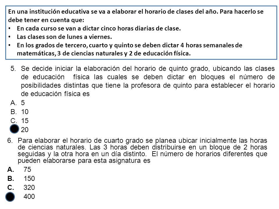 En una institución educativa se va a elaborar el horario de clases del año. Para hacerlo se debe tener en cuenta que: