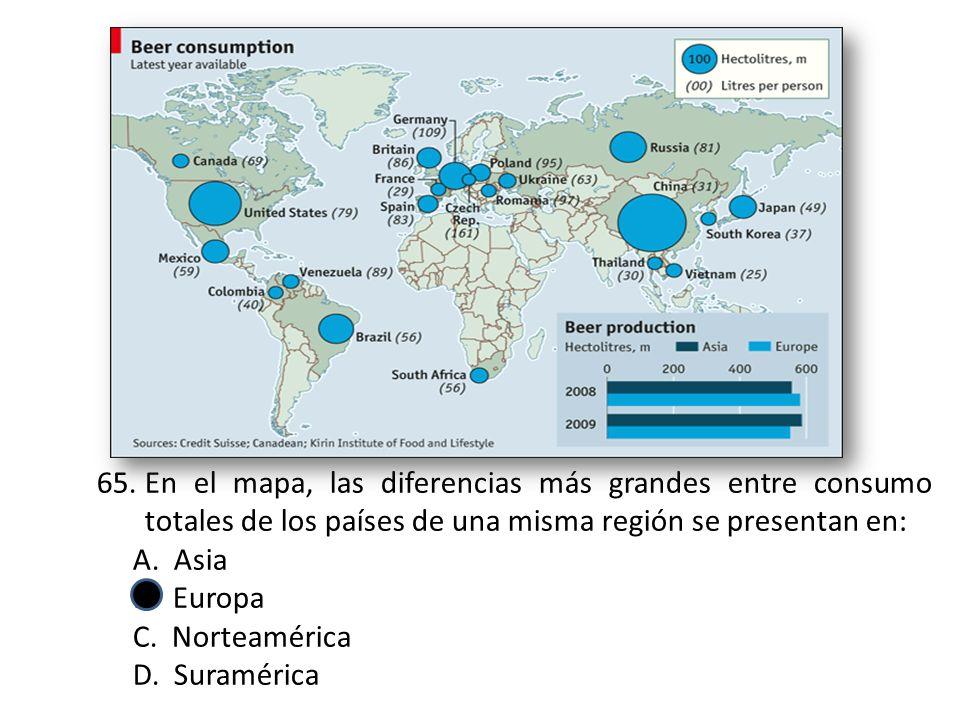 En el mapa, las diferencias más grandes entre consumo totales de los países de una misma región se presentan en: