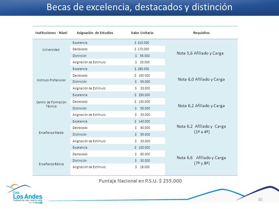 Asignación de Estudios Puntaje Nacional en P.S.U. $ 255.000