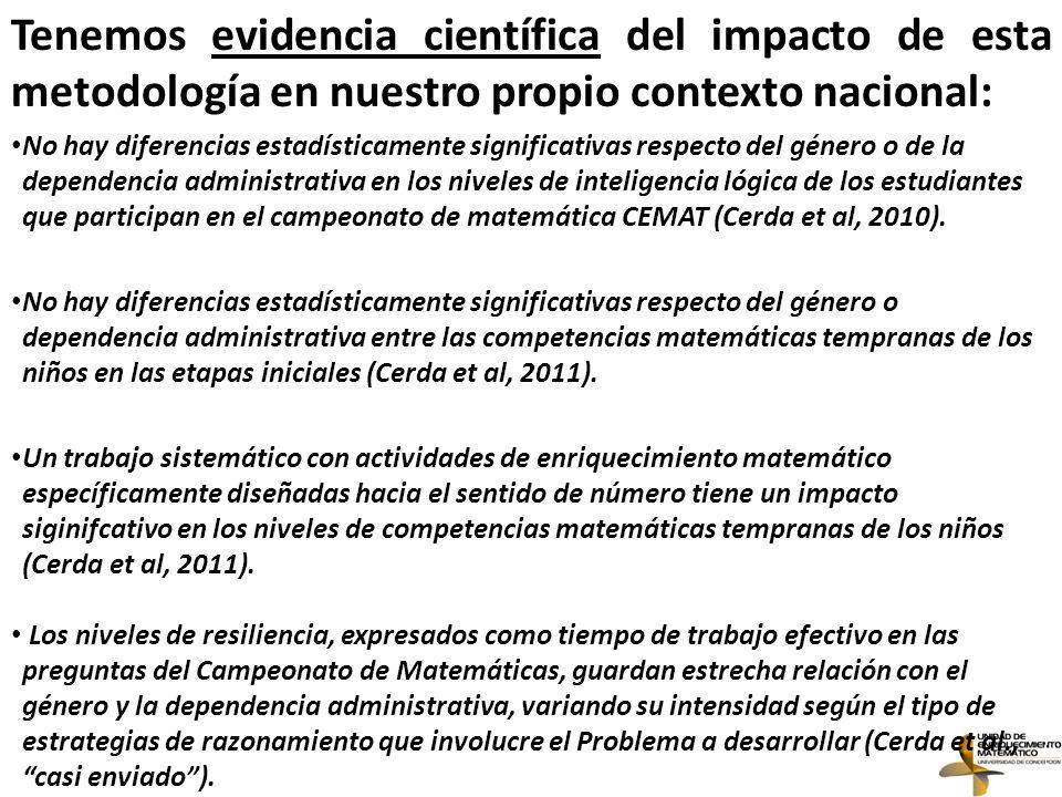 Tenemos evidencia científica del impacto de esta metodología en nuestro propio contexto nacional: