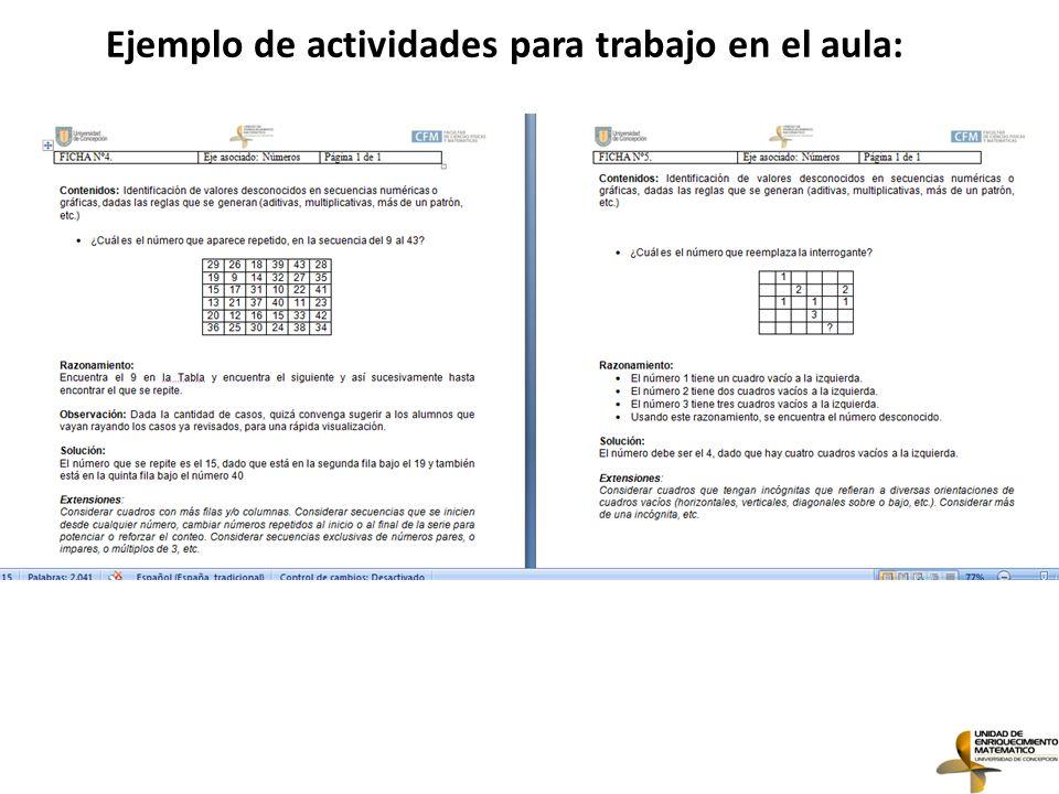Ejemplo de actividades para trabajo en el aula: