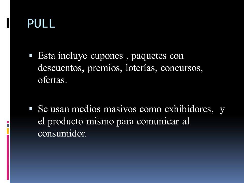 PULL Esta incluye cupones , paquetes con descuentos, premios, loterías, concursos, ofertas.
