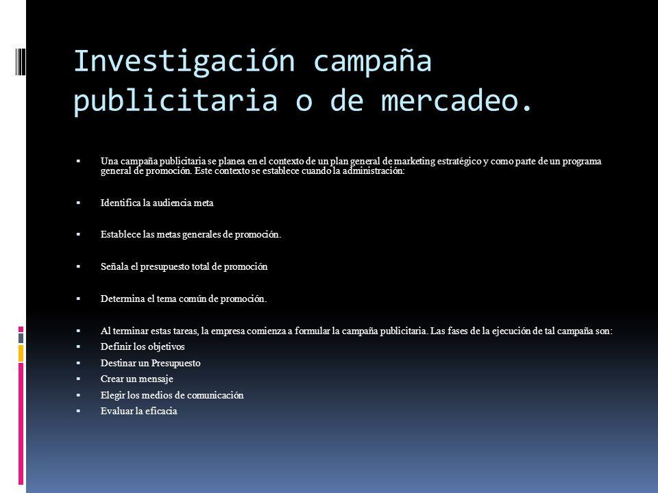 Investigación campaña publicitaria o de mercadeo.