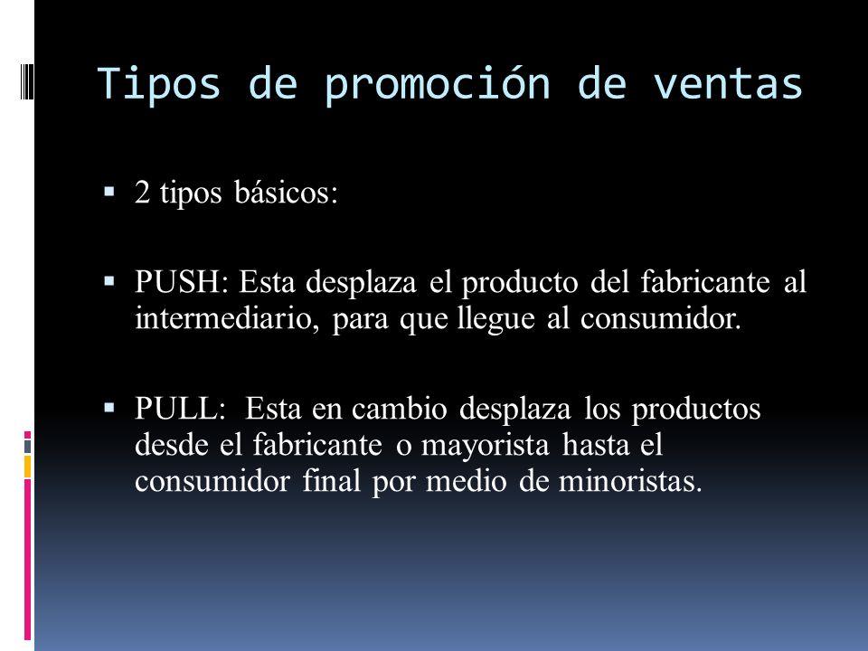 Tipos de promoción de ventas