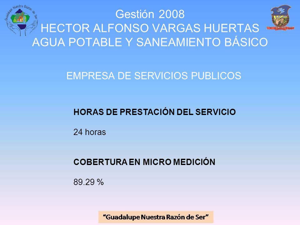 Gestión 2008 HECTOR ALFONSO VARGAS HUERTAS AGUA POTABLE Y SANEAMIENTO BÁSICO